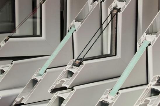 Selection of PVC window profiles on display