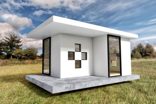 Modern White Tiny House Exterior with Landscape Background