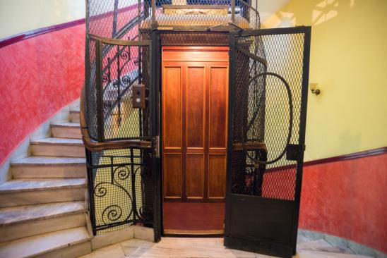 Antique elevator in an old apartment building