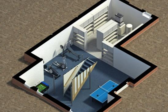 3D illustration of a furnished residential house, with the basement isometric, showing a stair, storage, exercise and entertainment area.
