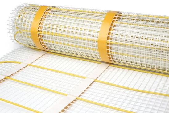 Mat electric floor heating system on white background