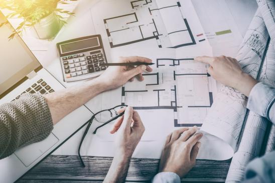 architects architect project interior design designer planning people architecture drawing business plan construction sketch house concept - stock image