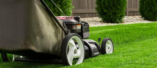 Photograph of lawn mower on the green grass. Mower is located on the left side of photograph with low angle view on grass field.