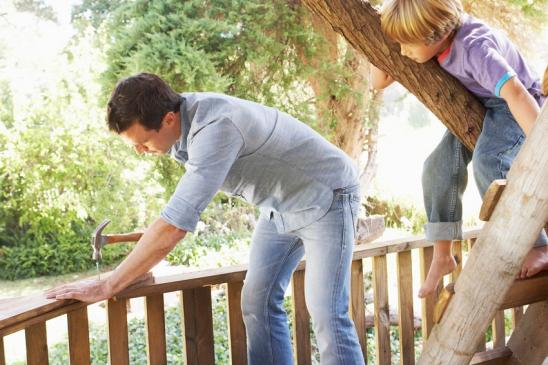 Father And Son Building Tree House Together In Garden