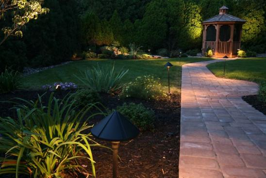 dusk in the landscaped garden