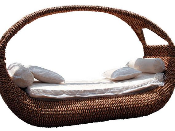 King Size Passion Couch aus Rattan