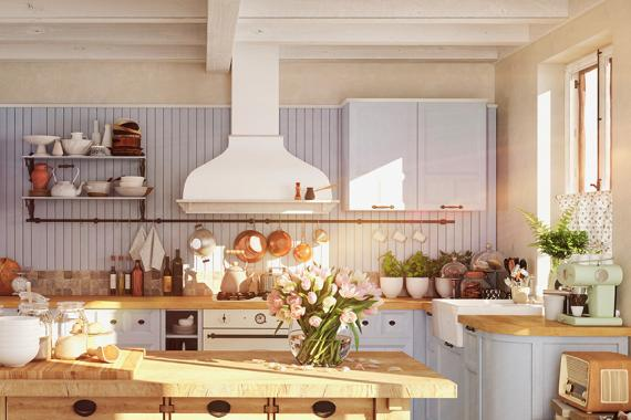 3D RENDERING. retro kitchen in a cottage with sun flares.