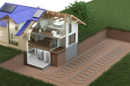 model of house and heat pump system
