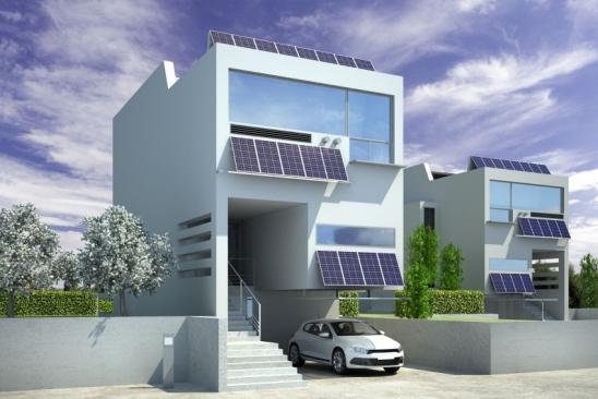 Contemporary Solar House Architecture - 3d illustration